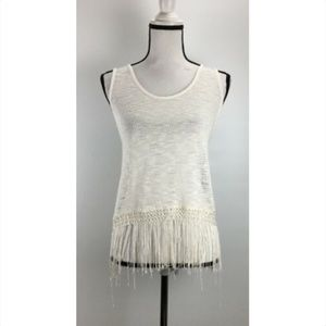 Painted Threads Tank Top Size S Knit Fringe Sleeve